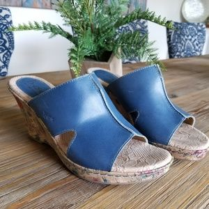Blue Born Cork Wedge Sandals